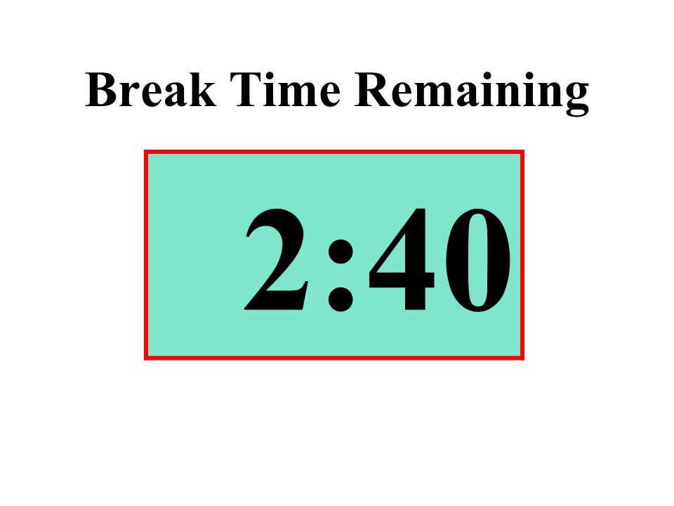 Break Time Remaining 2:40