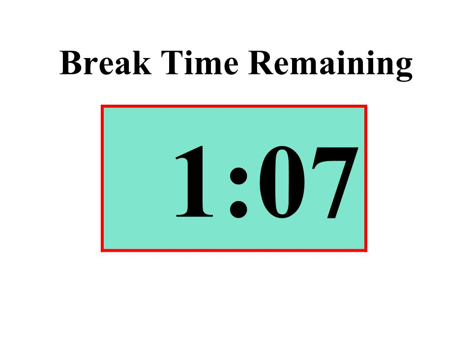 Break Time Remaining 1:07