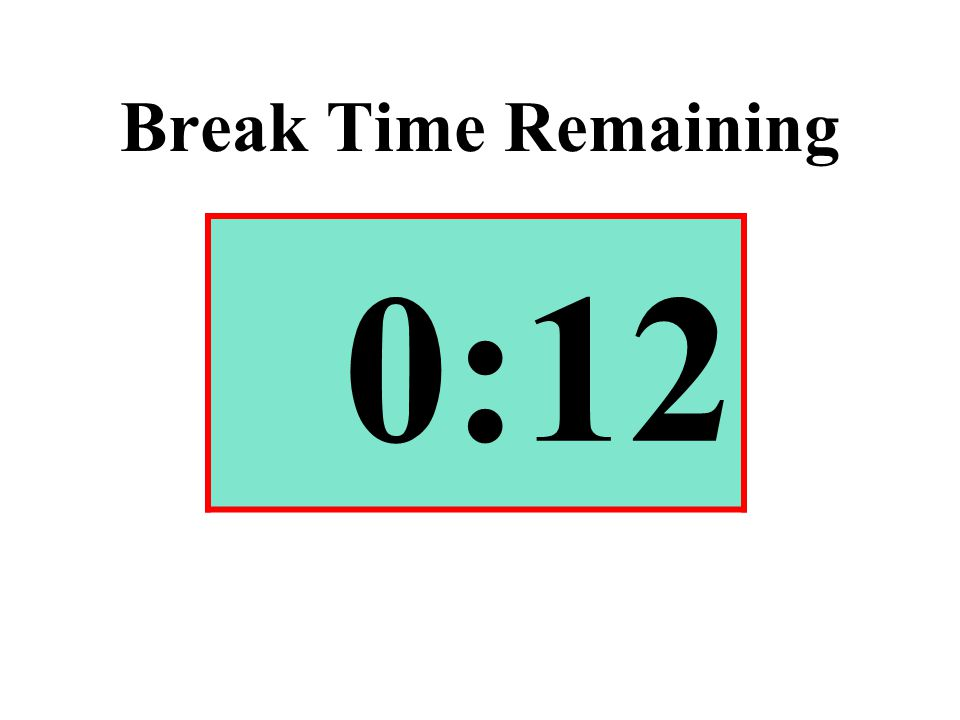 Break Time Remaining 0:12