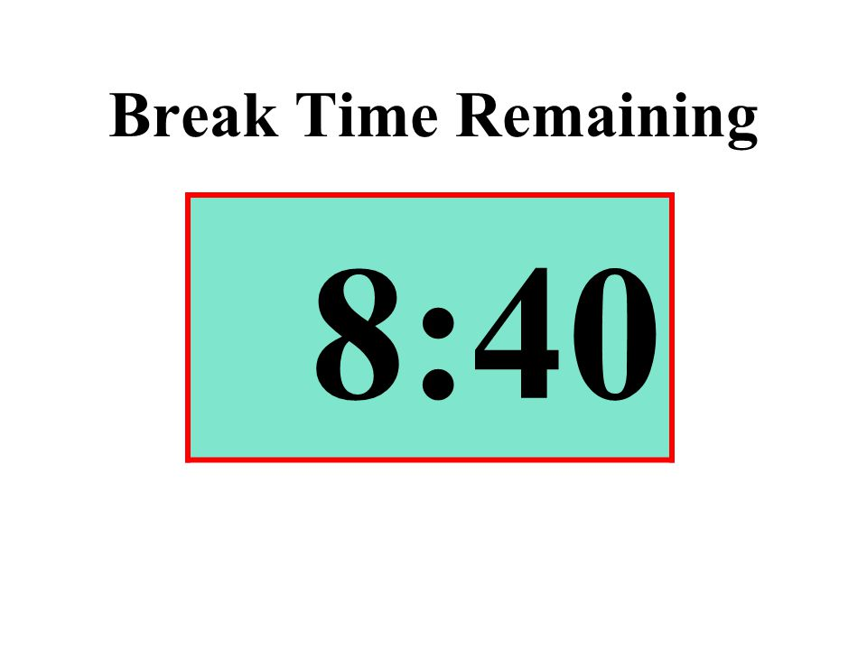 Break Time Remaining 8:40