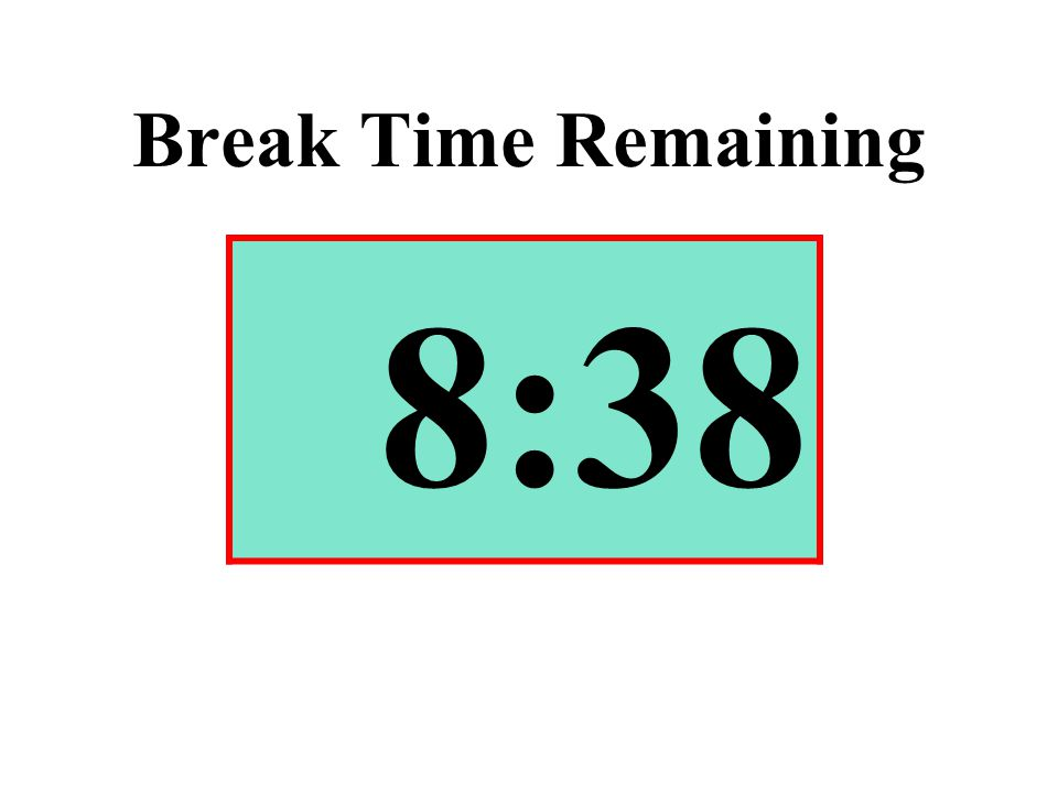 Break Time Remaining 8:38