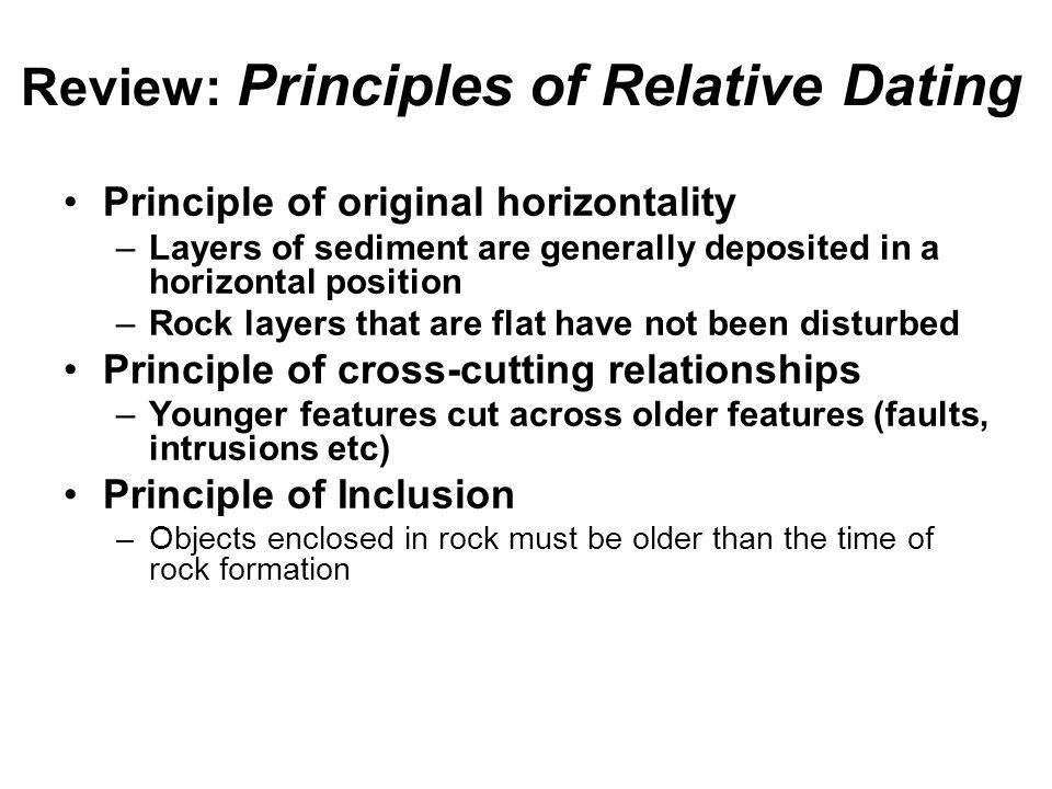 what are the three principles of relative dating An introduction to physical geology in central oregon, the principles of relative dating might be applied to the differentiation of three classes of rocks.
