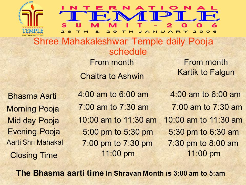 The Bhasma aarti time In Shravan Month is 3:00 am to 5:am