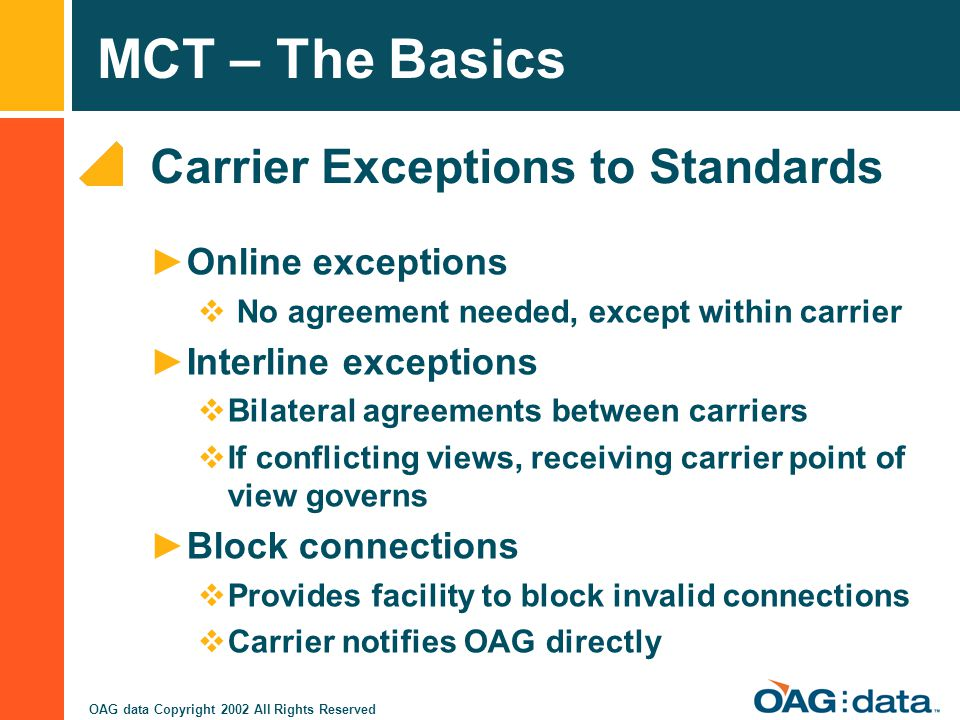 Carrier Exceptions to Standards