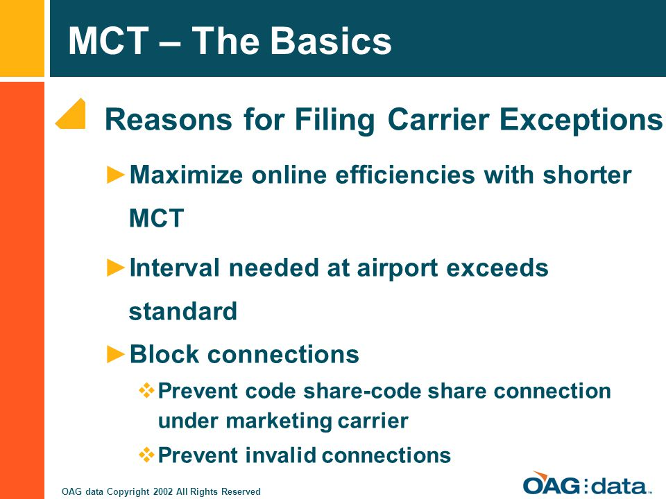 Reasons for Filing Carrier Exceptions
