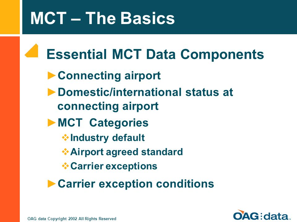 Essential MCT Data Components