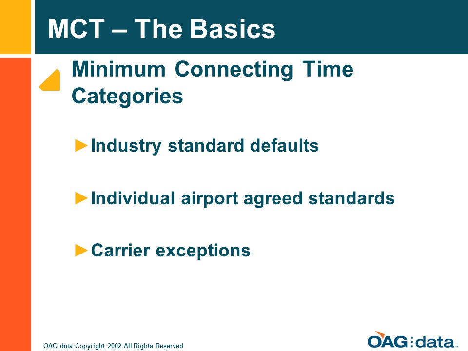 Minimum Connecting Time Categories