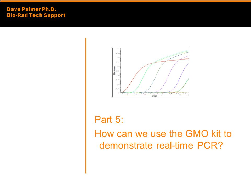 Part 5: How can we use the GMO kit to demonstrate real-time PCR