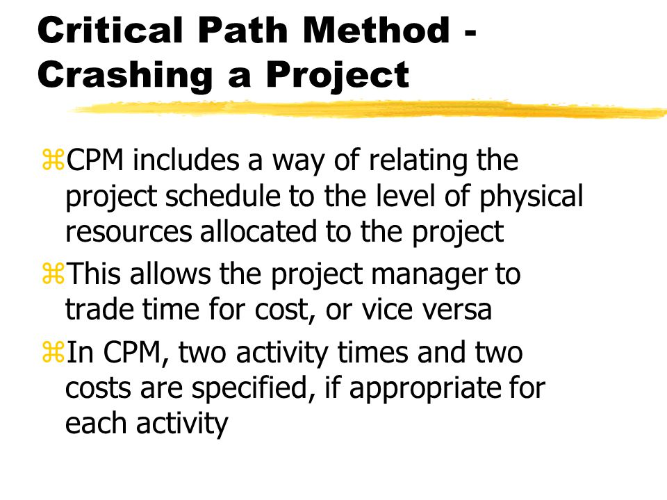 Critical Path Method - Crashing a Project