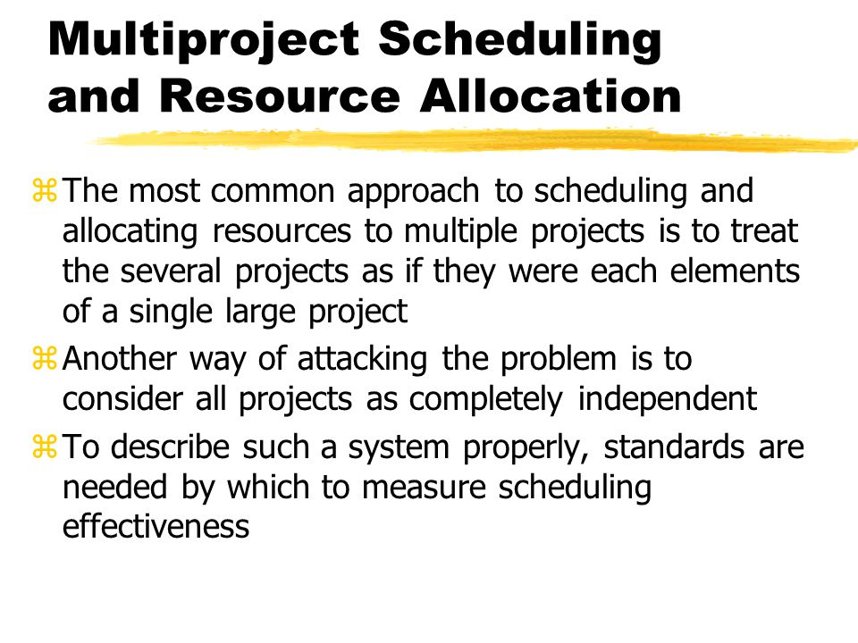 Multiproject Scheduling and Resource Allocation