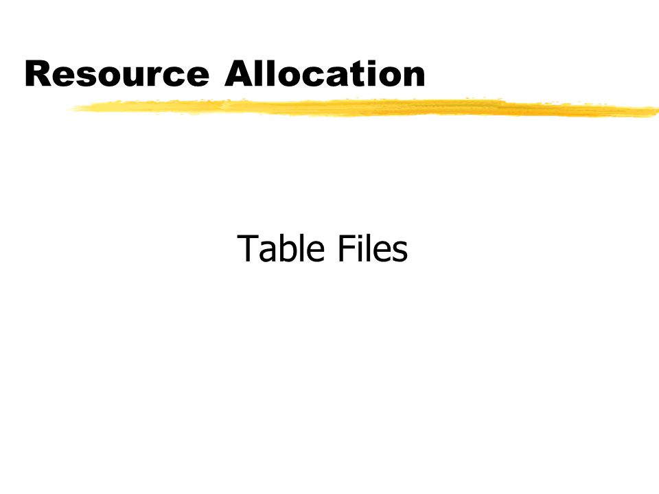 Resource Allocation Table Files