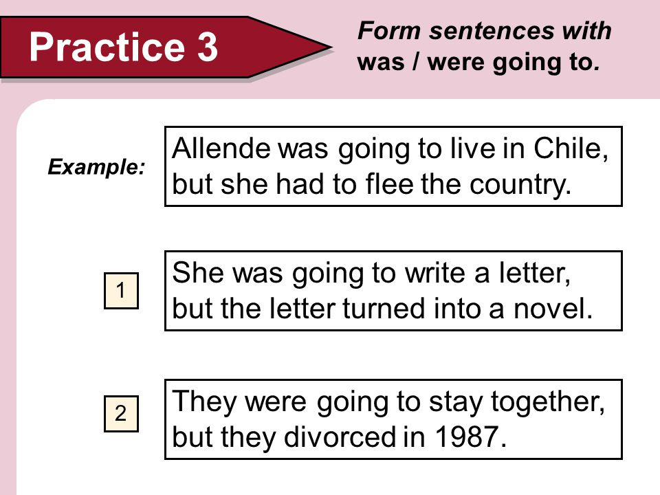 Practice 3 Form sentences with was / were going to. Allende was going to live in Chile, but she had to flee the country.