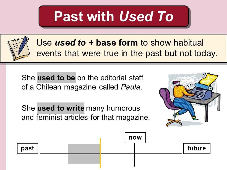 Past with Used To Use used to + base form to show habitual events that were true in the past but not today.