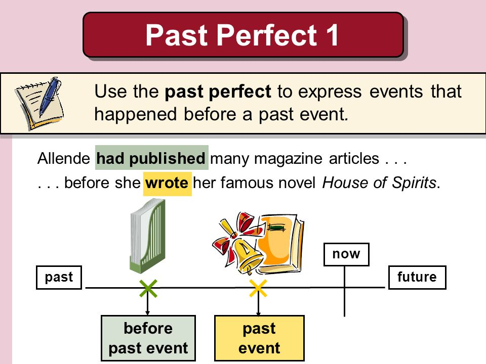 Past Perfect 1 Use the past perfect to express events that happened before a past event. Allende had published many magazine articles . . .