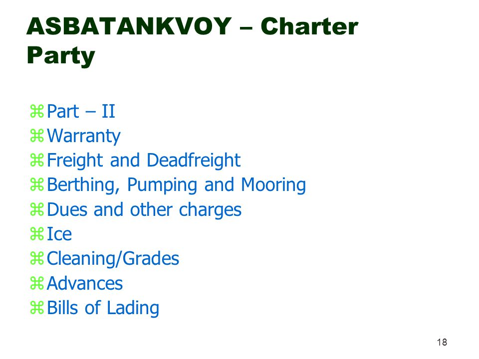 ASBATANKVOY – Charter Party
