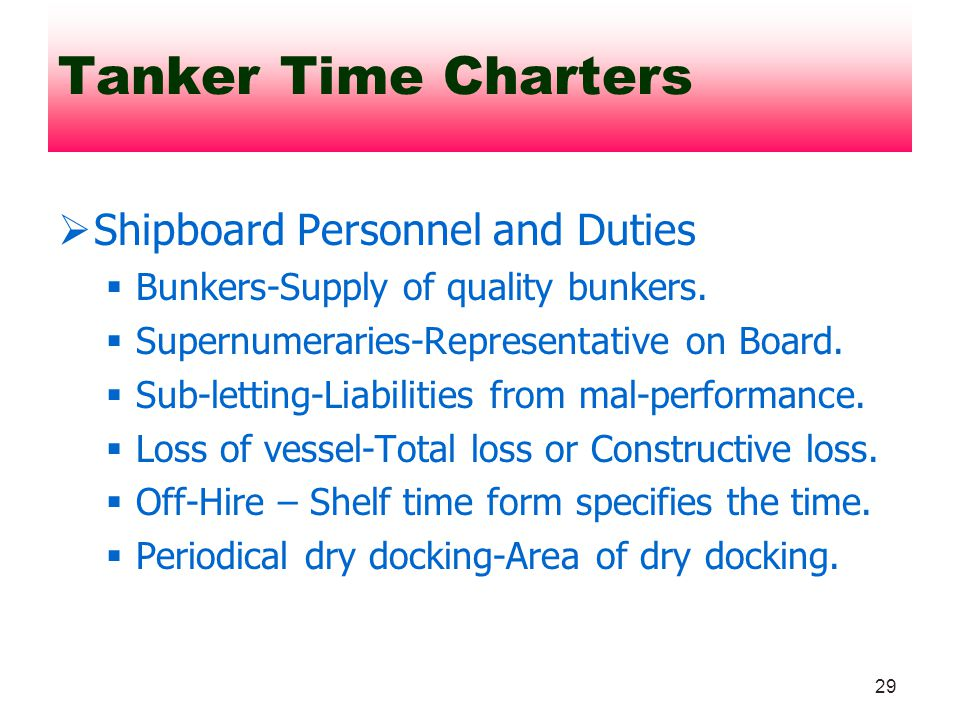 Tanker Time Charters Shipboard Personnel and Duties