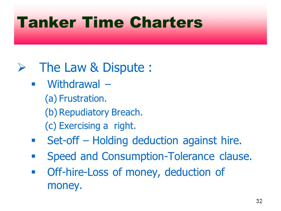 Tanker Time Charters The Law & Dispute : Withdrawal –