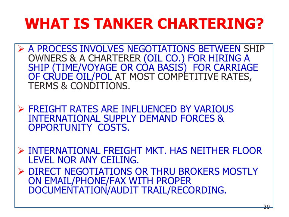 WHAT IS TANKER CHARTERING
