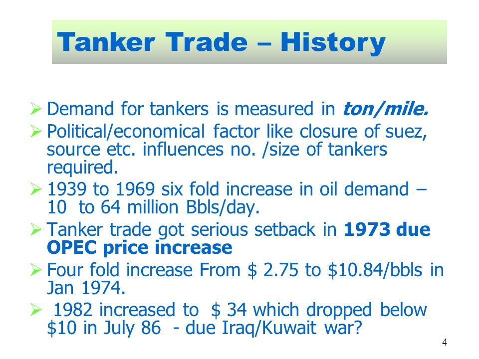 Tanker Trade – History Demand for tankers is measured in ton/mile.