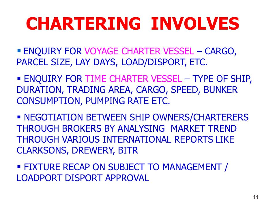CHARTERING INVOLVES ENQUIRY FOR VOYAGE CHARTER VESSEL – CARGO, PARCEL SIZE, LAY DAYS, LOAD/DISPORT, ETC.