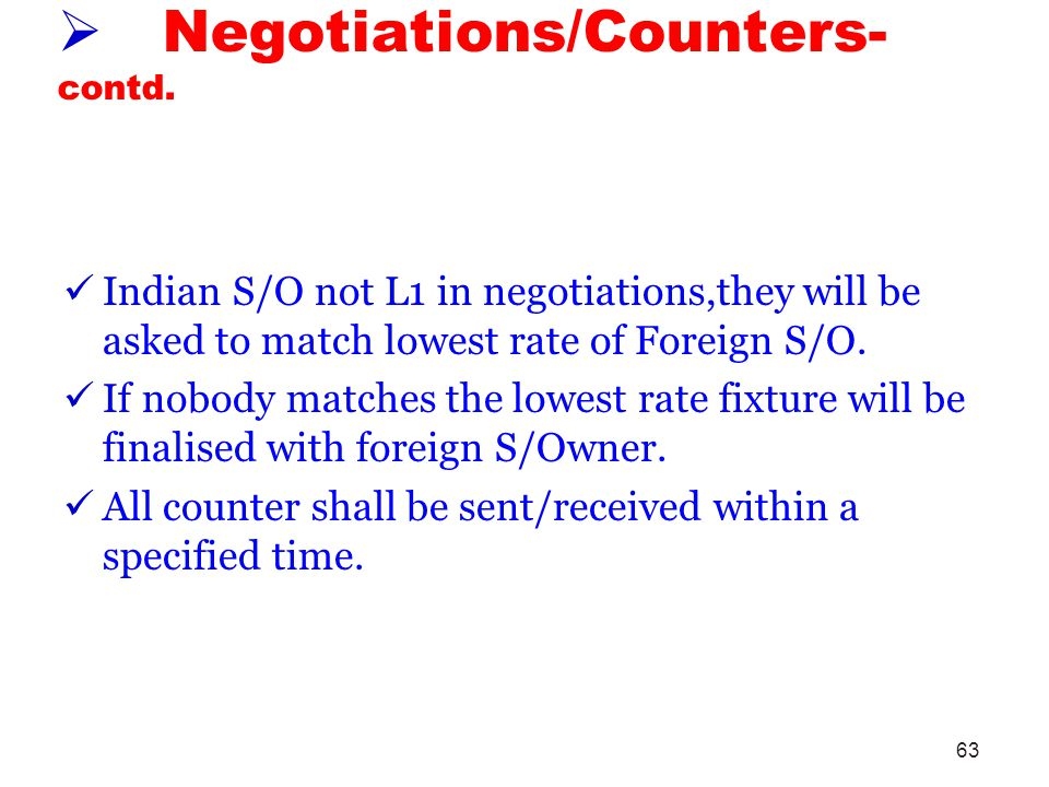 Negotiations/Counters- contd.