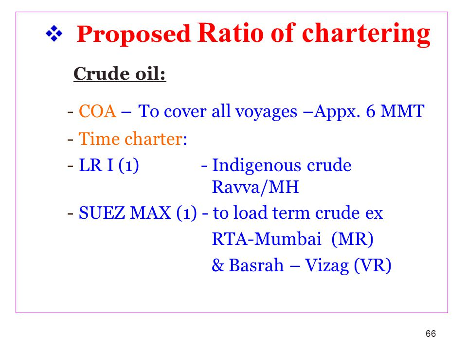 Crude oil: Proposed Ratio of chartering