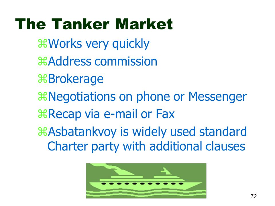 The Tanker Market Works very quickly Address commission Brokerage