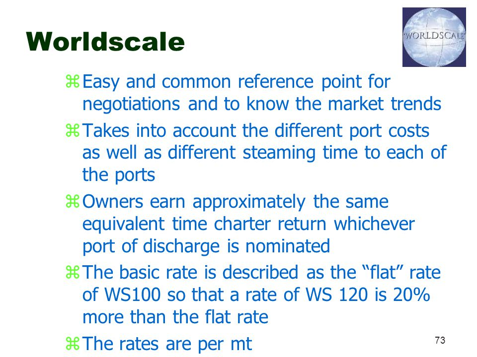 Worldscale Easy and common reference point for negotiations and to know the market trends.