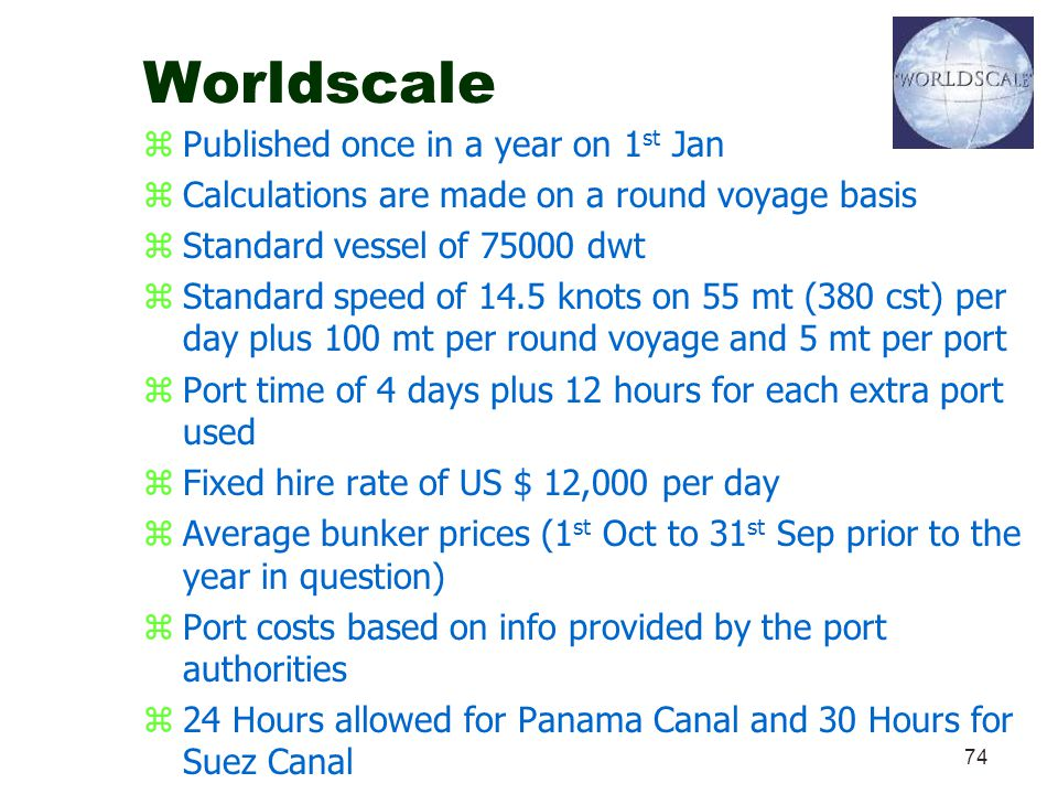 Worldscale Published once in a year on 1st Jan