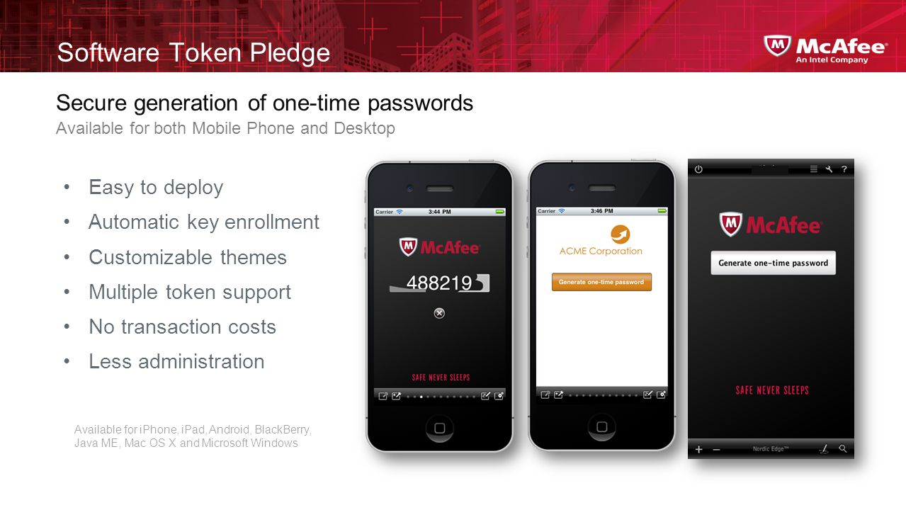Software Token Pledge Secure generation of one-time passwords