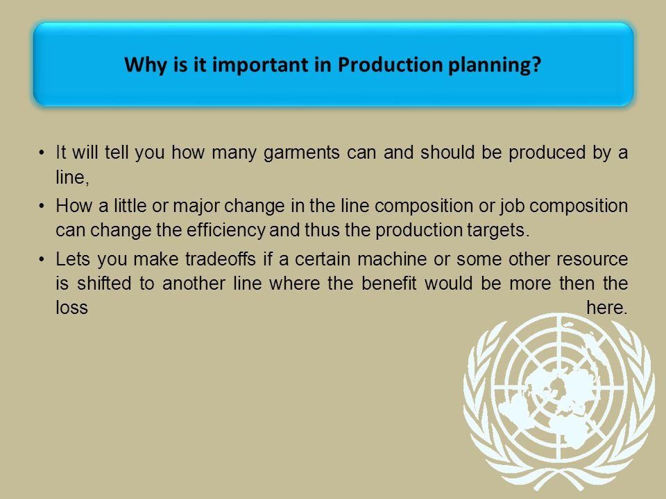 Why is it important in Production planning