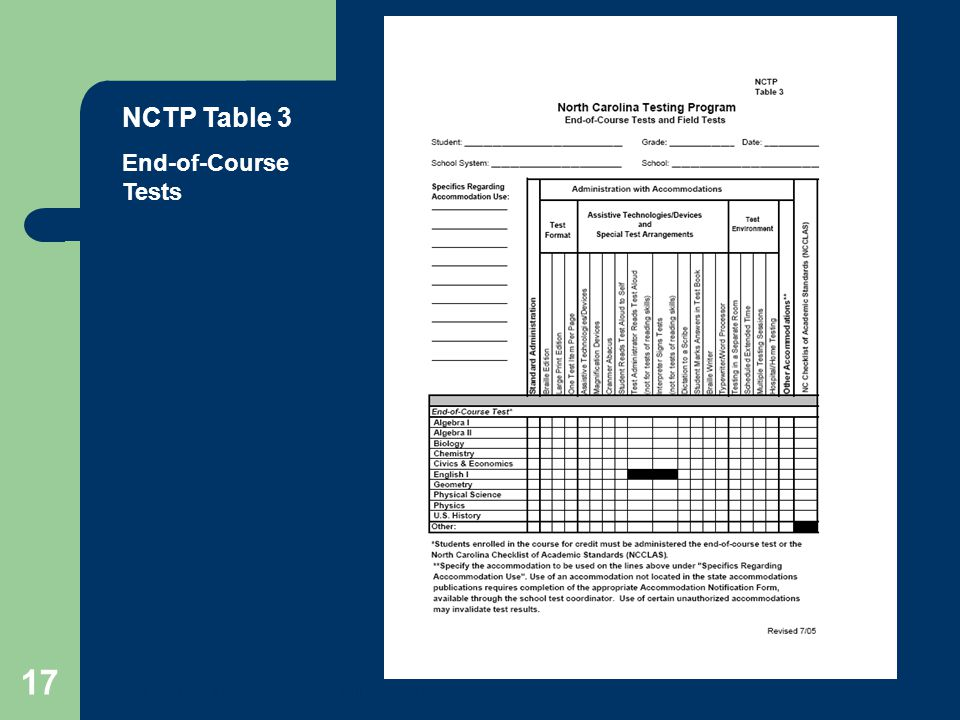 NCTP Table 3 End-of-Course Tests