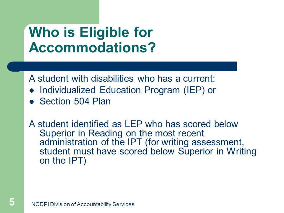 Who is Eligible for Accommodations