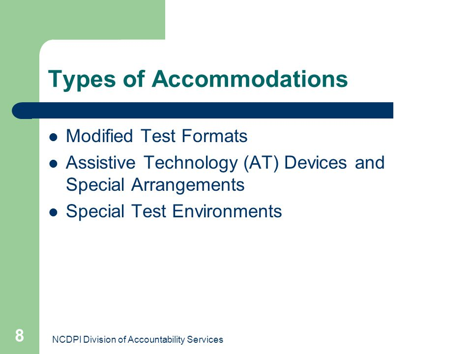 Types of Accommodations