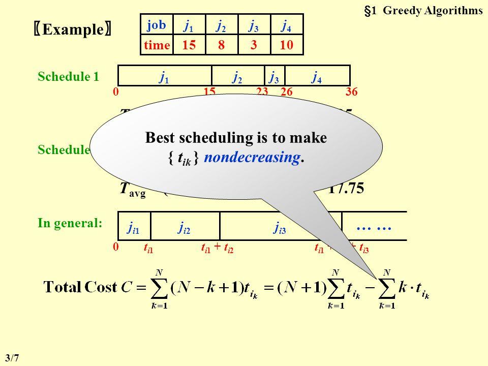 Best scheduling is to make { tik } nondecreasing.
