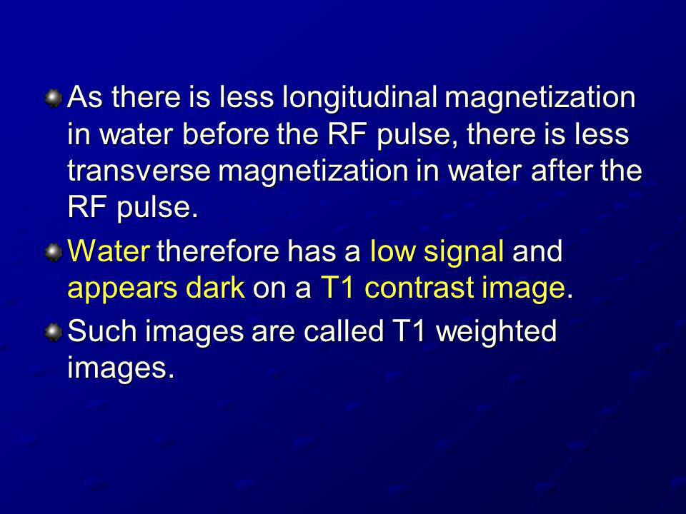 As there is less longitudinal magnetization in water before the RF pulse, there is less transverse magnetization in water after the RF pulse.