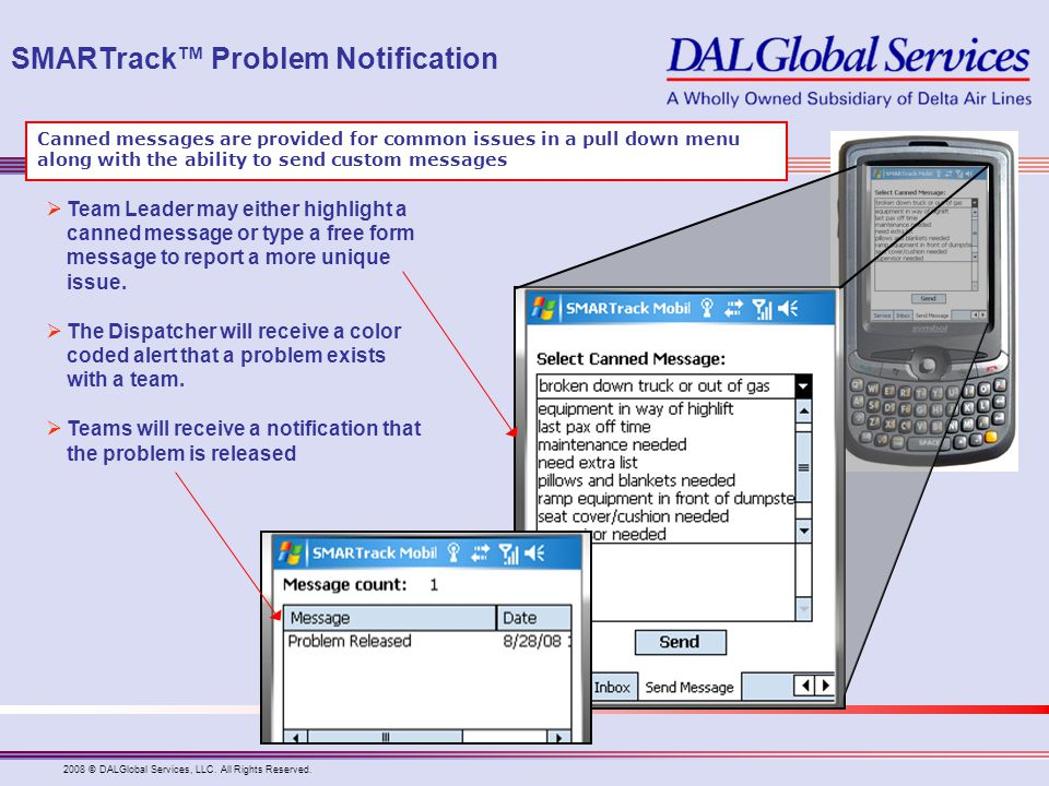 SMARTrack™ Problem Notification