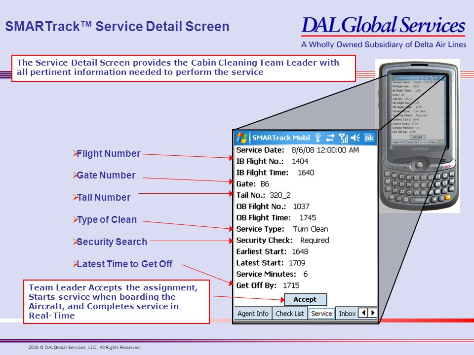 SMARTrack™ Service Detail Screen