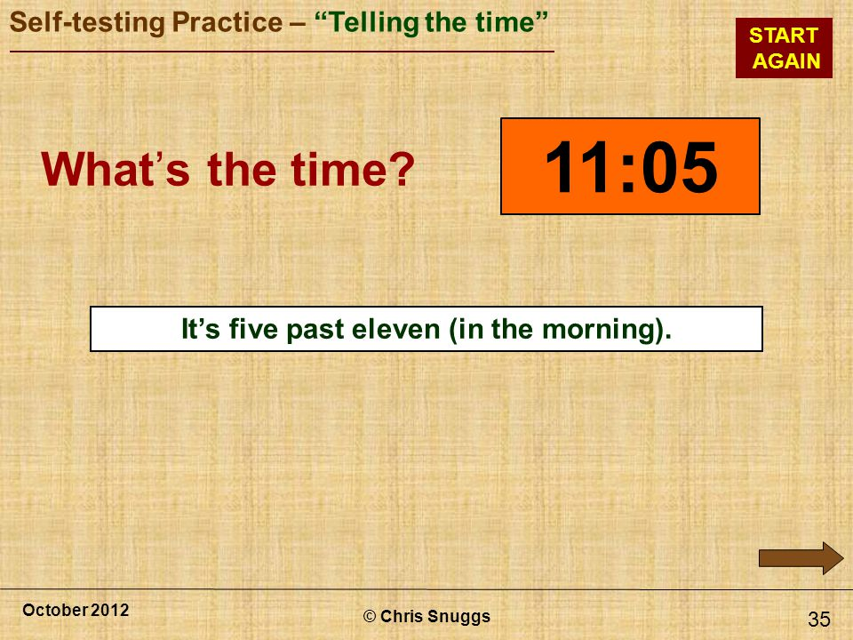 It's five past eleven (in the morning).