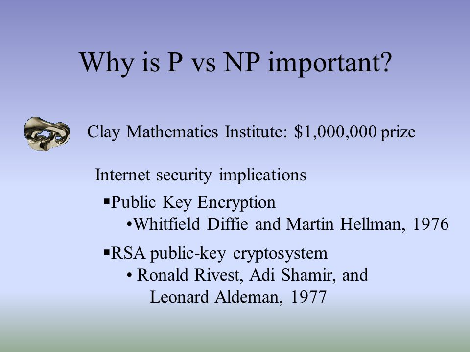 Why is P vs NP important Clay Mathematics Institute: $1,000,000 prize