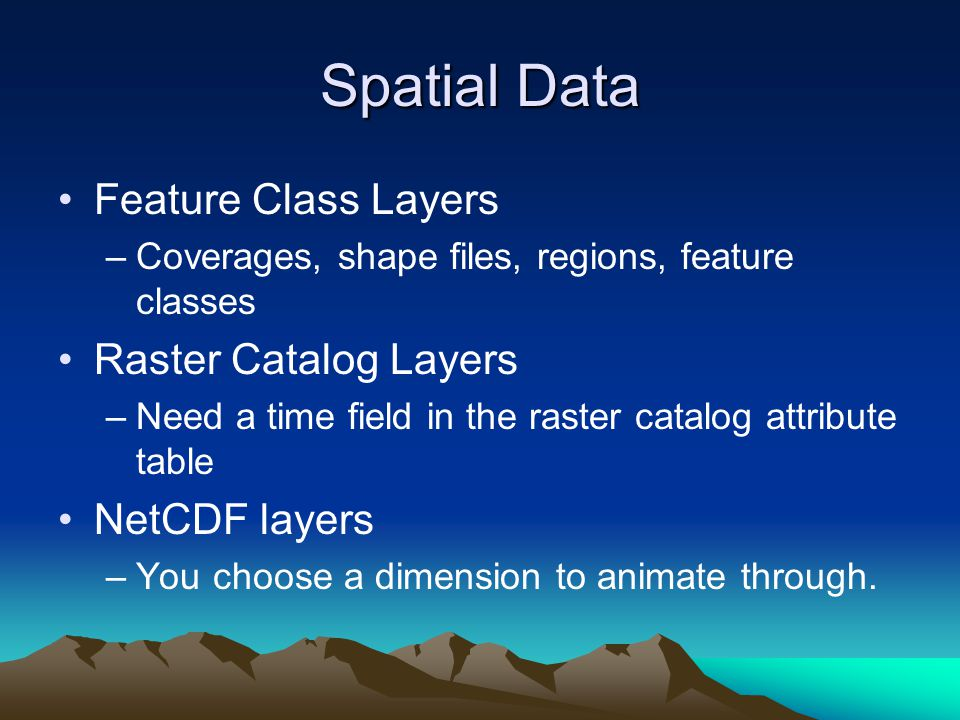 Spatial Data Feature Class Layers Raster Catalog Layers NetCDF layers