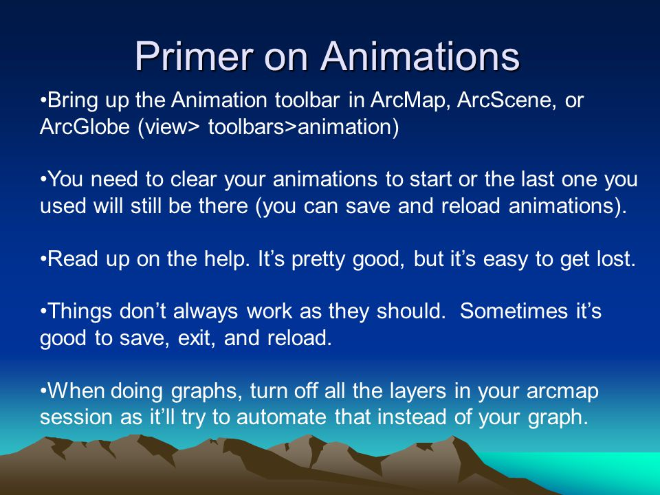 Primer on Animations Bring up the Animation toolbar in ArcMap, ArcScene, or ArcGlobe (view> toolbars>animation)