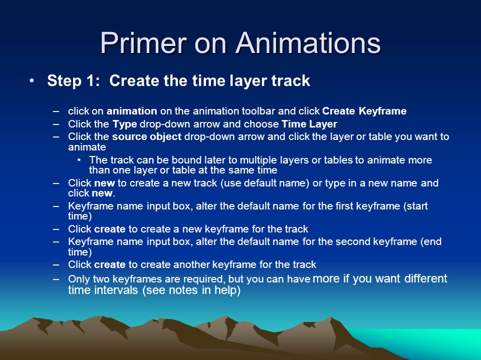 Primer on Animations Step 1: Create the time layer track