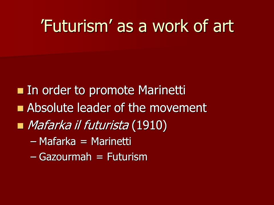 'Futurism' as a work of art