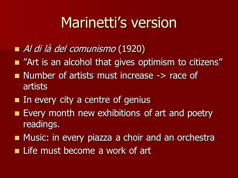 Marinetti's version Al di là del comunismo (1920)