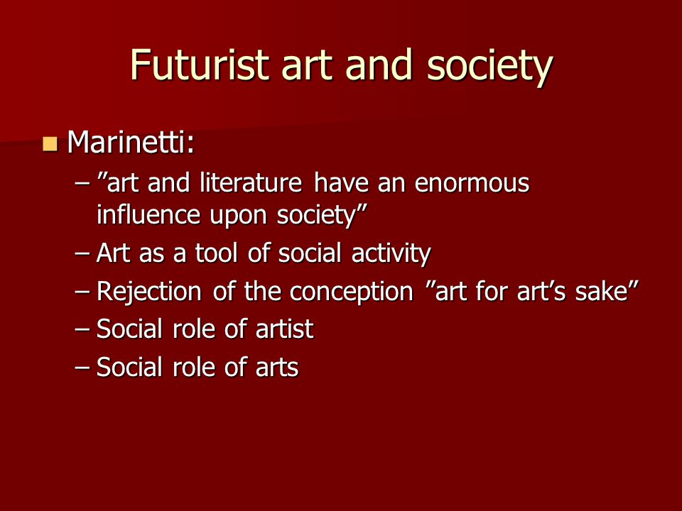 Futurist art and society