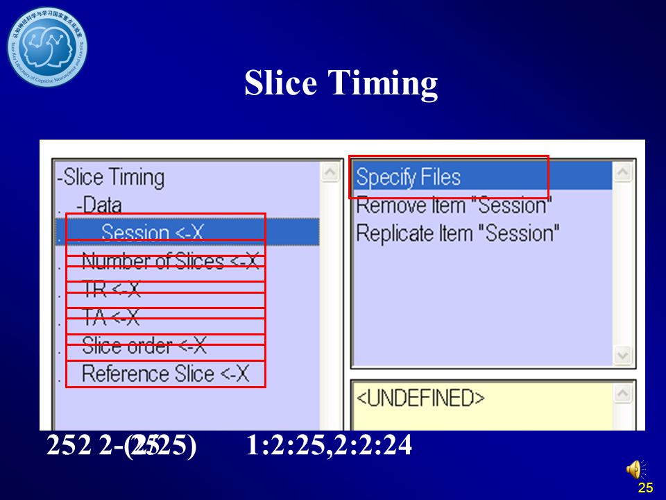 Slice Timing 25 2 2-(2/25) 25 1:2:25,2:2:24 25