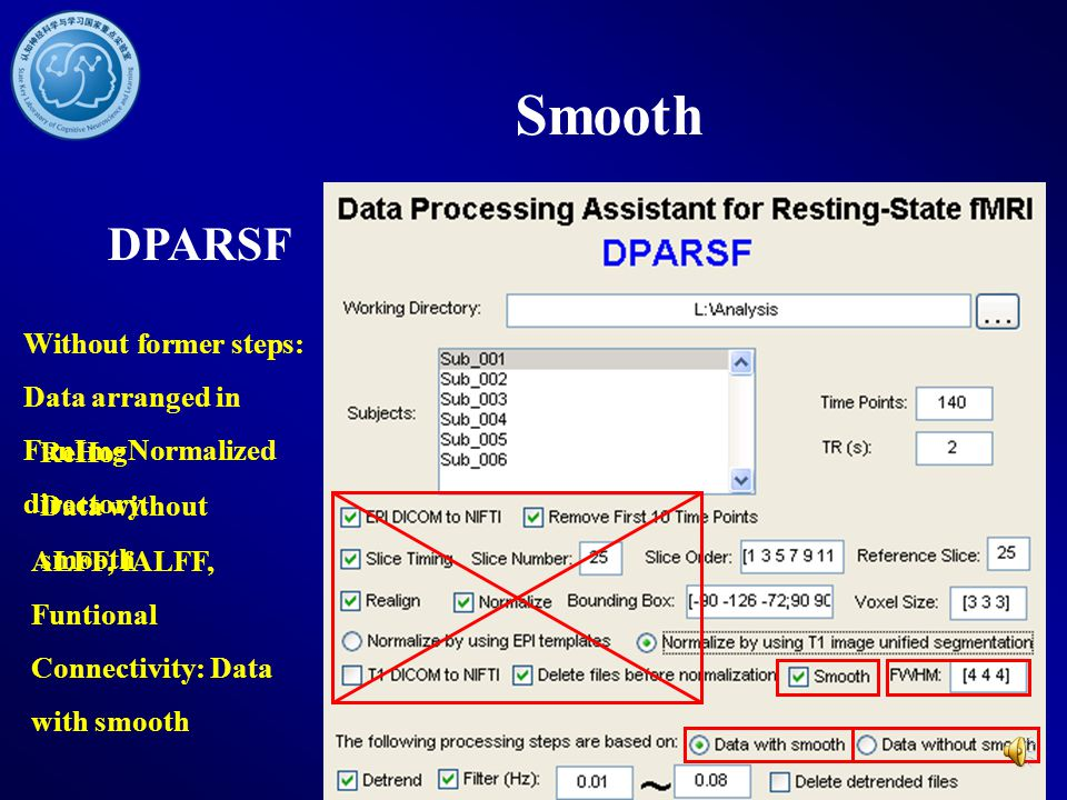 Smooth DPARSF. Without former steps: Data arranged in FunImgNormalized directory. ReHo: Data without smooth.