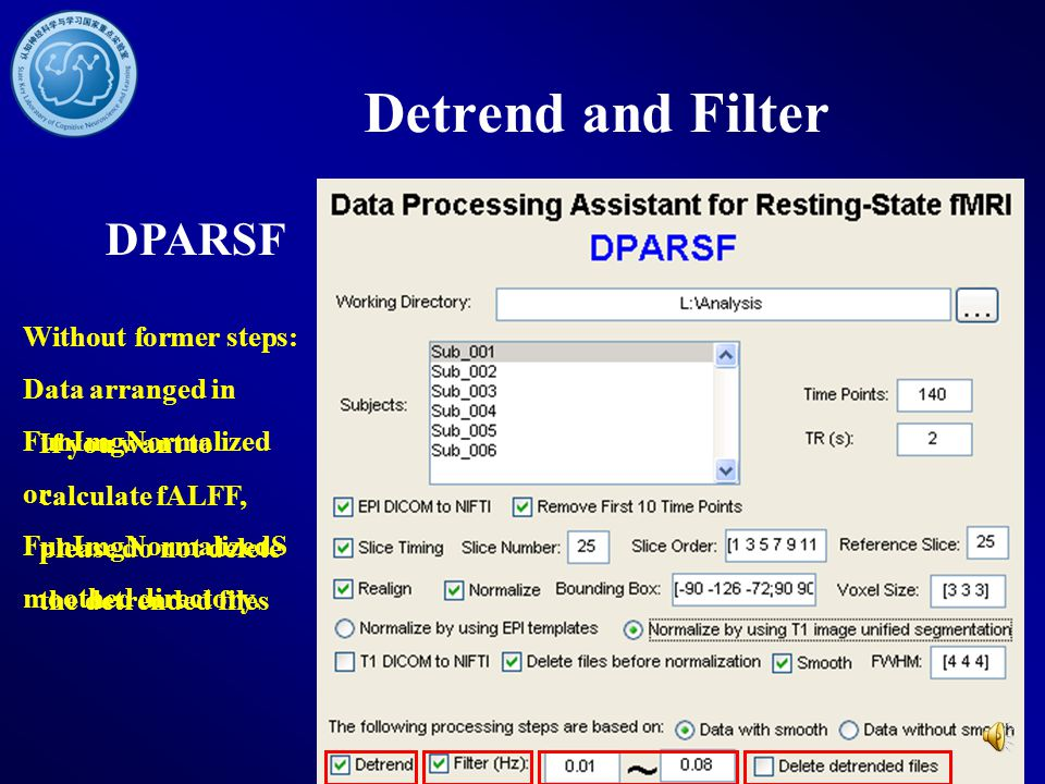 Detrend and Filter DPARSF
