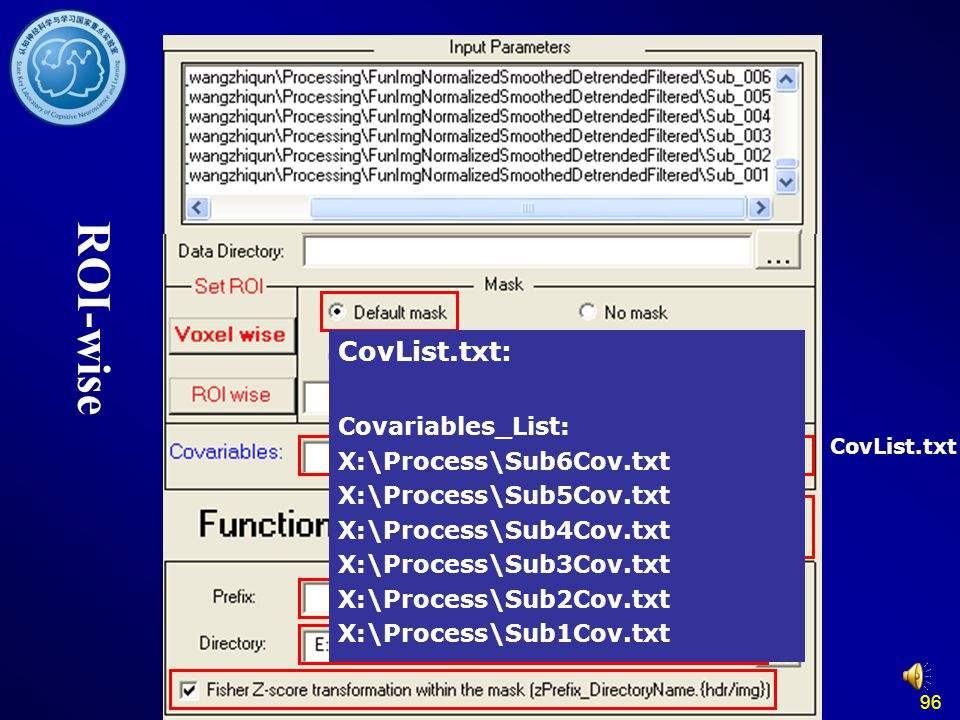 ROI-wise CovList.txt: Covariables_List: X:\Process\Sub6Cov.txt